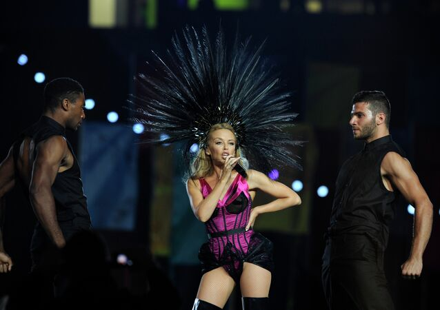 Australian singer Kylie Minogue performs during the closing ceremony of the 2014 Commonwealth Games at Hampden Park in Glasgow, Scotland