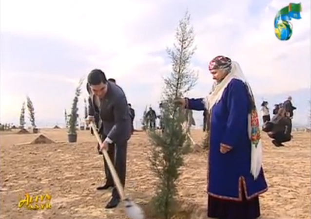 Turkmenistan's President Gurbanguly Berdymukhamedow plants a tree, in this screencap from national television.