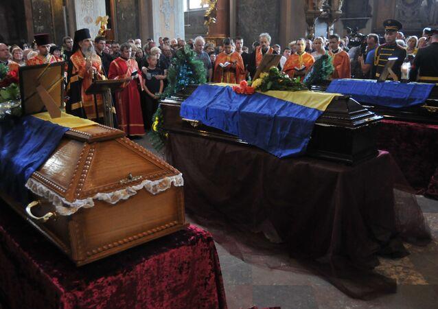 Funerals of Ukrainian servicemen who died in Zelenopolye