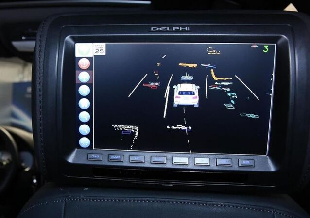 A screen inside Delphi's self-driving car showing obstacles around the car