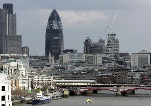 View from Nelson's Column shows the Gherkin building over central London's skyline