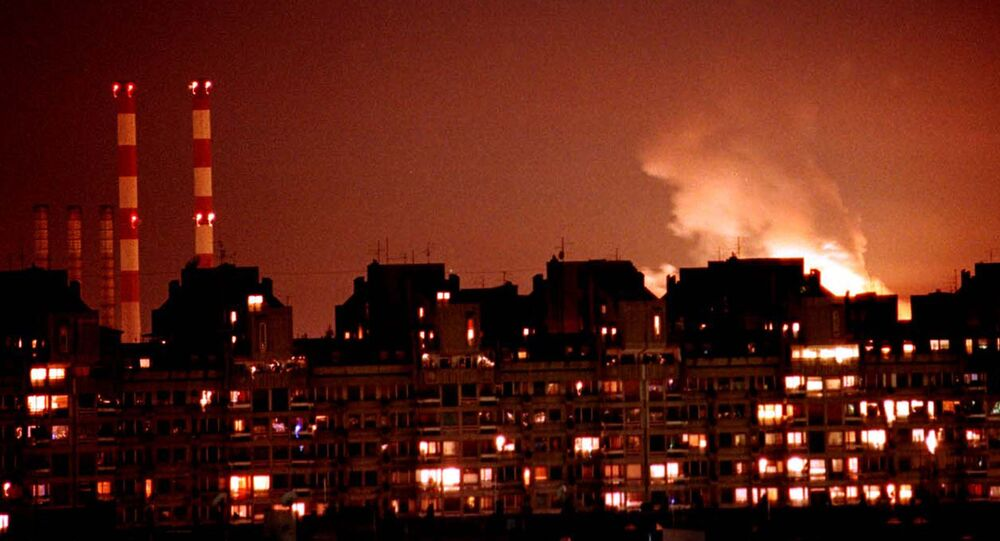 Flames from an explosion after NATO cruise missiles and warplanes attacked Yugoslavia, March 24, 1999