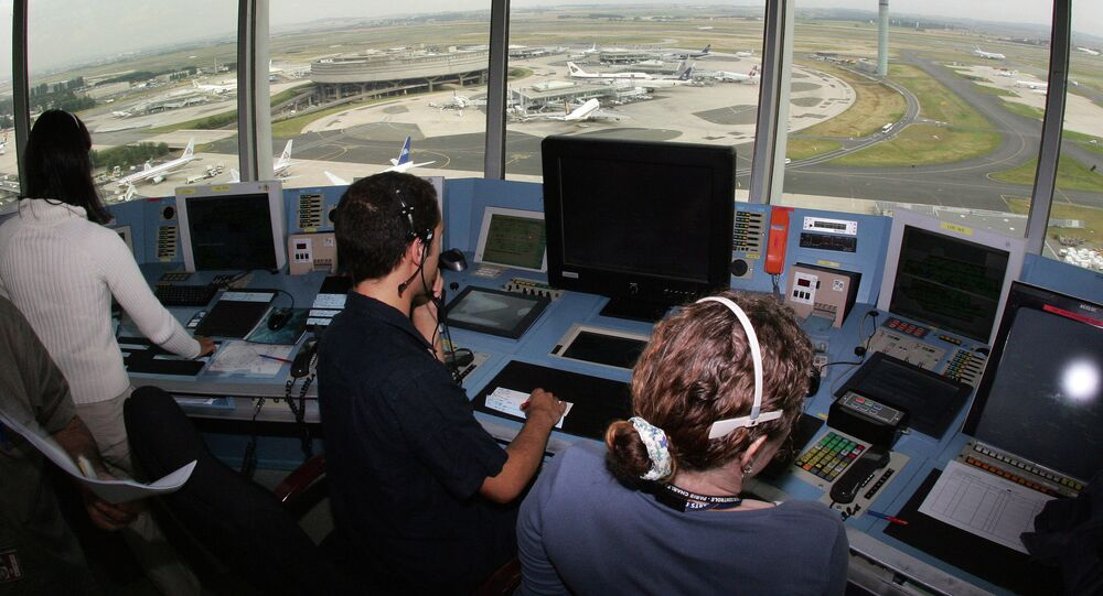 Air controllers man the air traffic at Roissy airport, near Paris