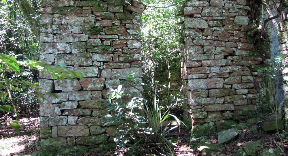 This March 8, 2015 photo released by the University of Buenos Aires Urban Archeology Center shows the remains of a building built inside Teyu Cuare Park near San Ignacio in the northeastern province of Misiones, Argentina.
