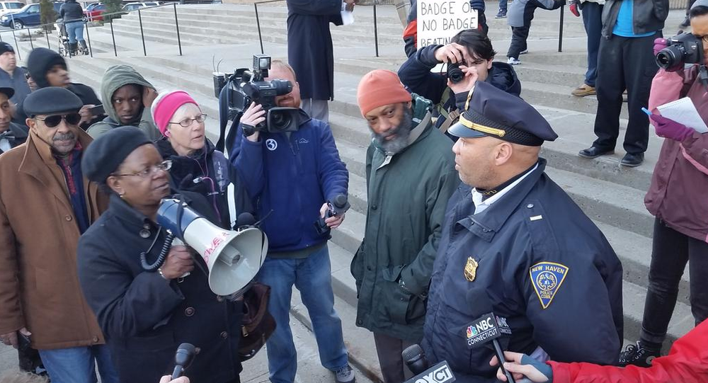 Protesters marched through the streets of New Haven, Connecticut on Monday, in response to the latest example of police brutality against minorities: the violent arrest of a teenage girl.
