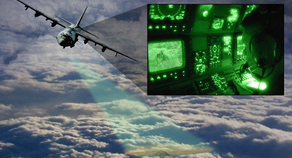 Artist's impression of a close-air-support aircraft with the Video Synthetic Aperture Radar (ViSAR) imaging the ground through a layer of clouds