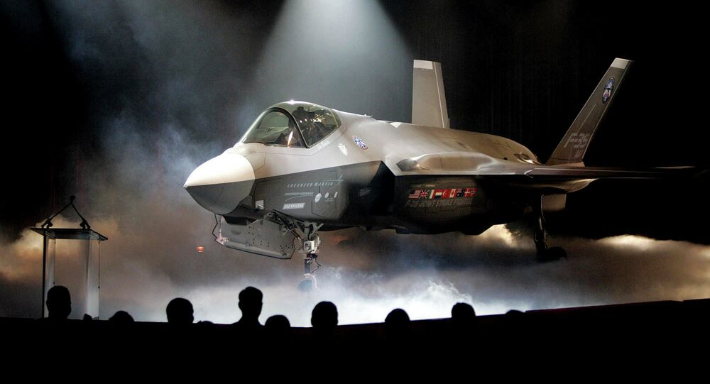 In this July 7, 2006 file photo, the Lockheed Martin F-35 Joint Strike Fighter is shown after it was unveiled in a ceremony in Fort Worth, Texas.