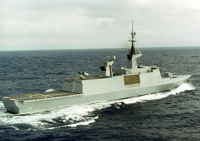 The French-built Lafayette-class stealth frigate Courbet