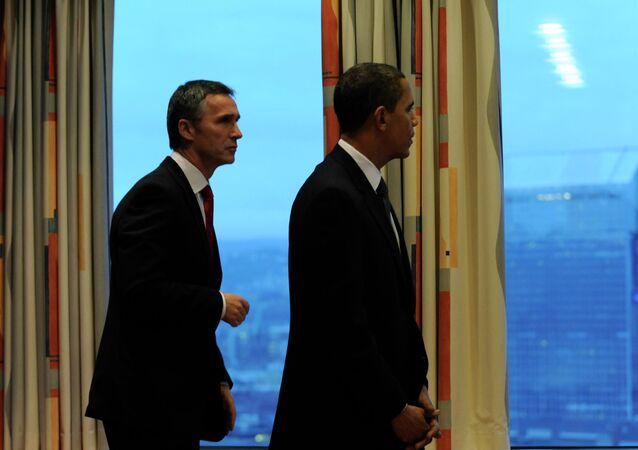 U.S. President Barack Obama and former Norwegian Prime Minister Jens Stoltenberg meet in Oslo in 2009.