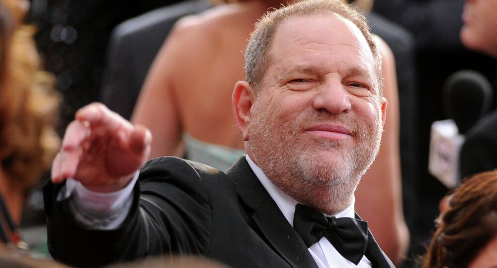 Harvey Weinstein arrives at the Oscars on Sunday, Feb. 22, 2015, at the Dolby Theatre in Los Angeles.