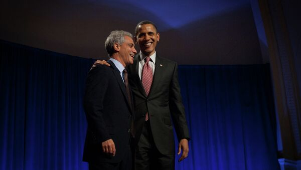"""Early in 2014, Emanuel announced the city would build a new selective-enrollment high school in the North Side of Chicago and name it """"Barack Obama College Preparatory High School,"""" to honor the first African American US president. He abandoned the plan in Sept. 2014. - Sputnik International"""