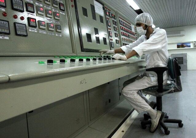 An Iranian technician works at a uranium conversion facility.