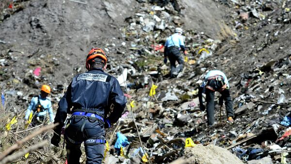 French emergency rescue services work at the site of the Germanwings jet that crashed on Tuesday, March 24, 2015 near Seyne-les-Alpes, France - Sputnik International