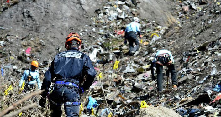 French emergency rescue services work at the site of the Germanwings jet that crashed on Tuesday, March 24, 2015 near Seyne-les-Alpes, France