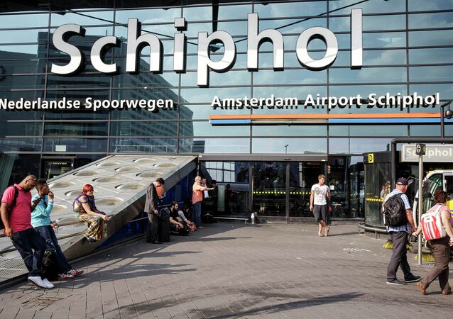 The main entrance of Schiphol airport in Amsterdam, Thursday, July 17, 2014