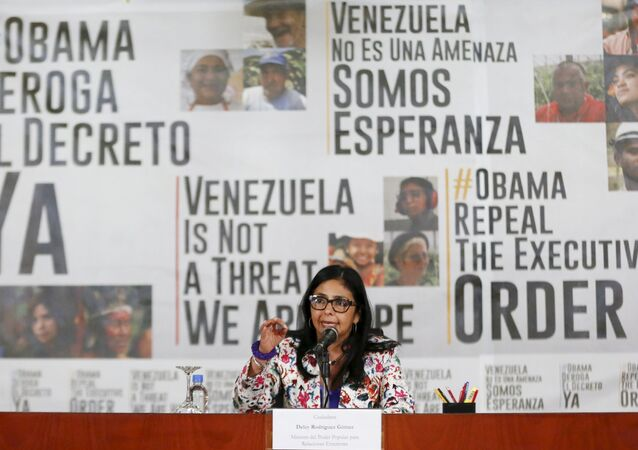 Venezuelan Foreign Minister Delcy Rodriguez speaks to the media during a news conference in Caracas March 25, 2015