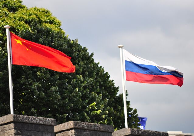 Chinese and Russian flags