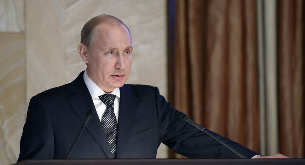 Russian President Vladimir Putin addresses meeting of Federal Security Service board