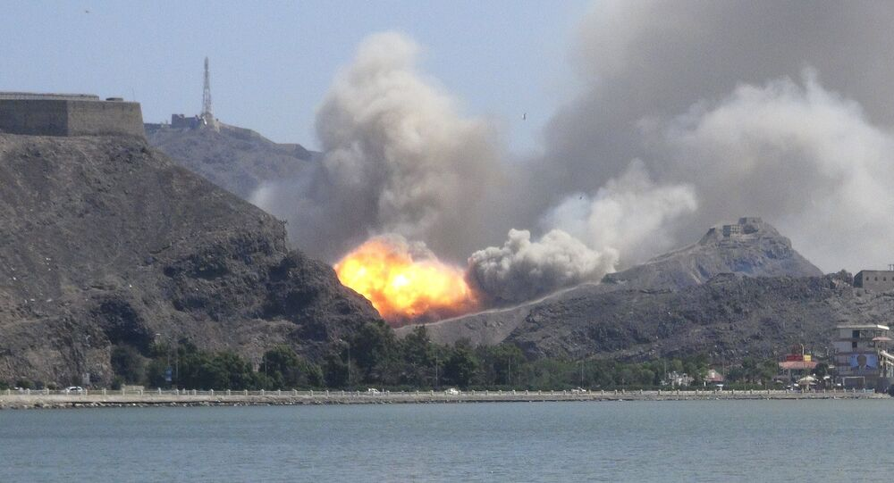 An arms depot explodes at the Jabal Hadeed military compound in Yemen's southern port city of Aden March 28, 2015