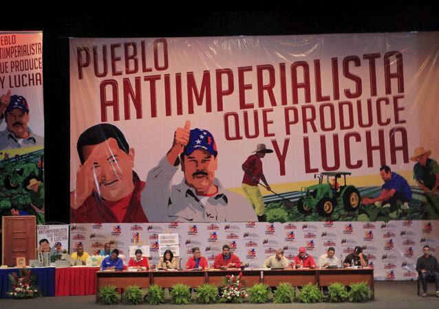 Venezuela's President Nicolas Maduro (C) speaks during a meeting against imperialism in Caracas, in this March 25, 2015 handout picture provided by Miraflores Palace