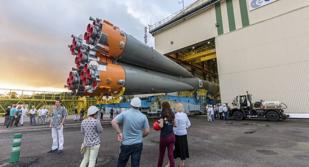 A Soyuz rocket is moved from its assembly building to its launch pad at the Guiana Space Centre in Kourou, French Guiana, on March 24, 2015