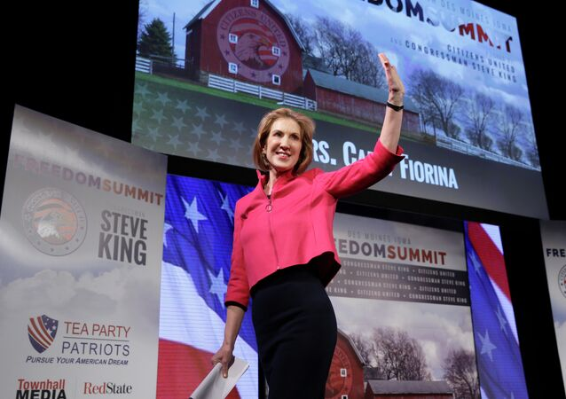 Carly Fiorina waves after speaking at the Freedom Summit, Saturday, Jan. 24, 2015, in Des Moines, Iowa