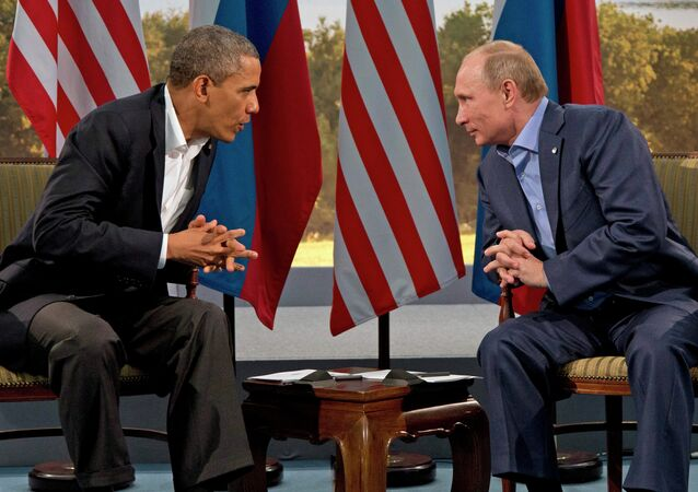 President Vladimir Putin meets with President Barack Obama in Enniskillen, Northern Ireland