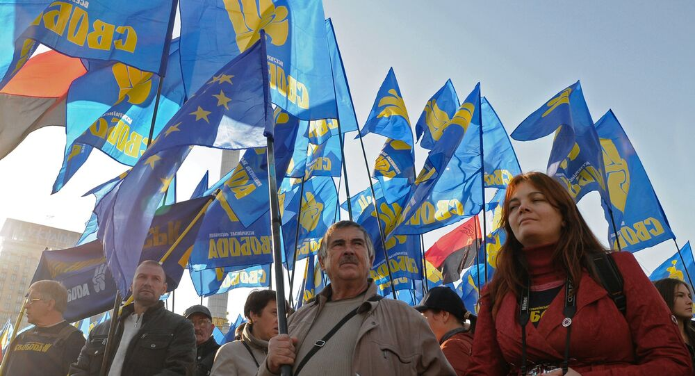 Supporters of the Svoboda party