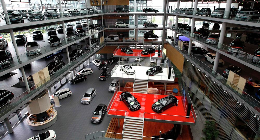 Mercedes-Benz cars are displayed in a dealership of German car manufacturer Daimler in Munich