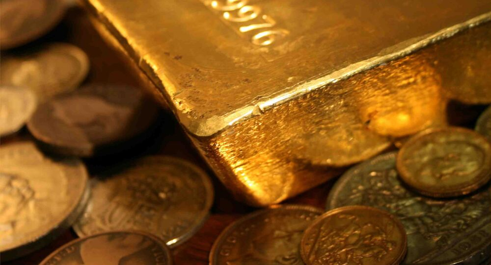Bullion bar in sea of coin