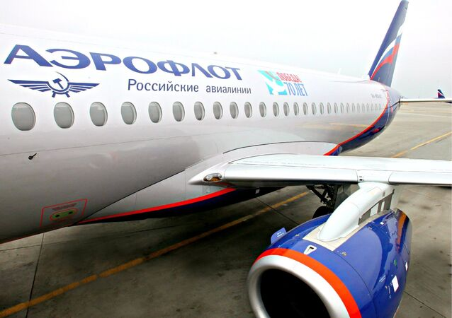 Aeroflot plane with WWII anniversary livery