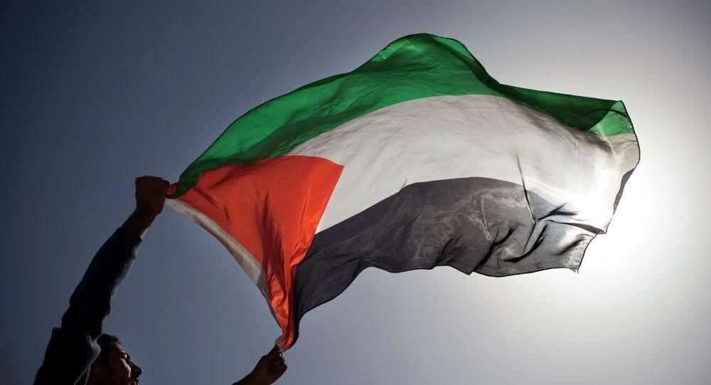 A Palestinian flag