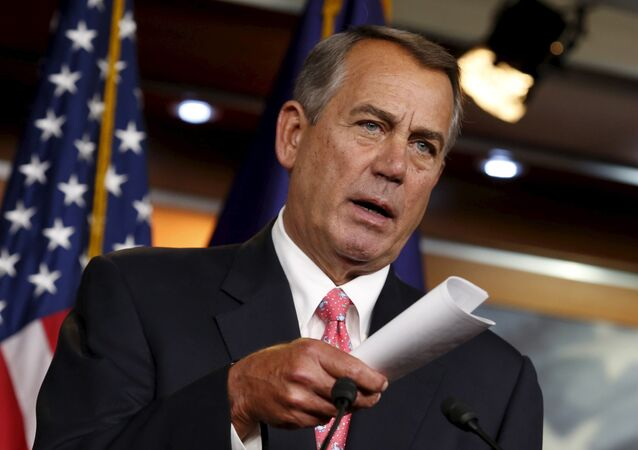 US House Speaker John Boehner speaks at a news conference on Capitol Hill in Washington