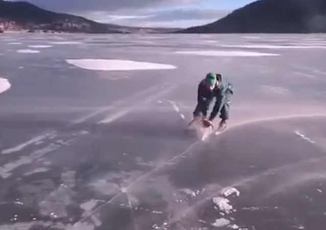 This is Madness! Man Skates on Ice Using a Chainsaw
