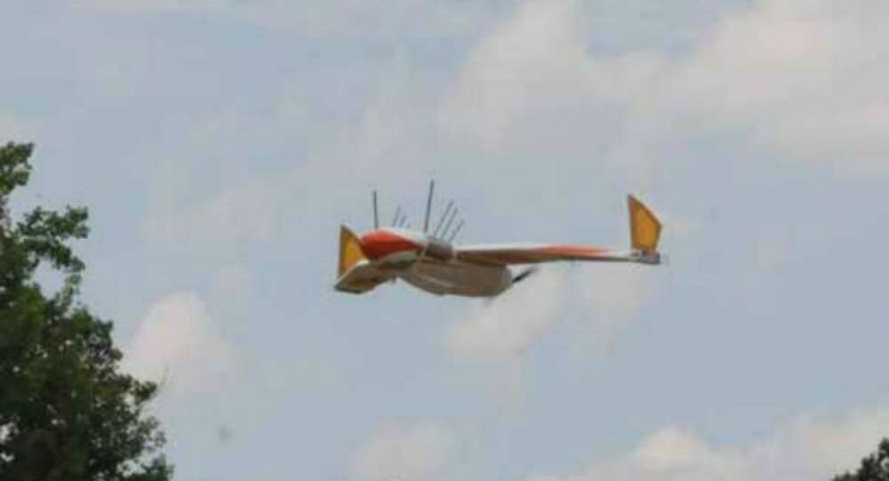 The Navy Research Lab's duck drone, Flying WANDA, in flight