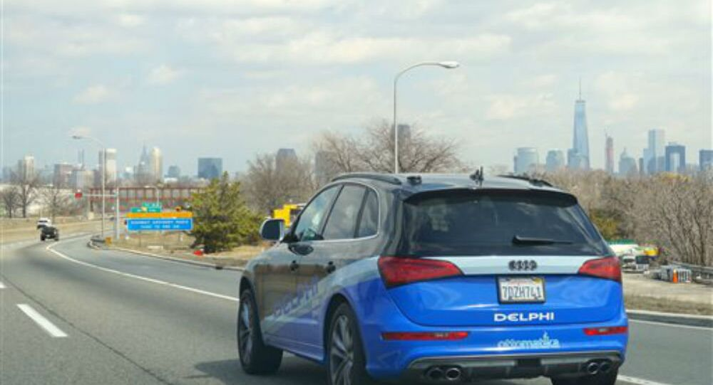 The Delphi Corp. autonomous car approaches New York City, its final destination of a 3,400-mile road trip across the United States.