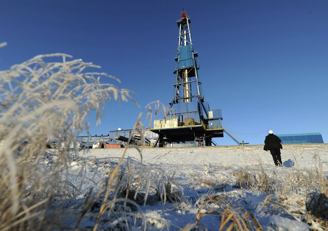 Natural gas drilling rig Yekaterina at the Bovanenkovo field in the Yamal-Nenets Autonomous District.