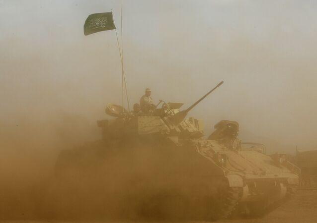 Saudi soldiers near the border with Yemen