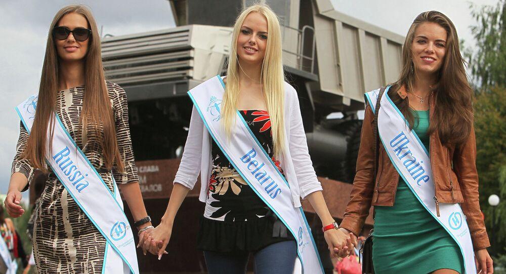 Miss Supranational 2013 contestants at BelAZ plant