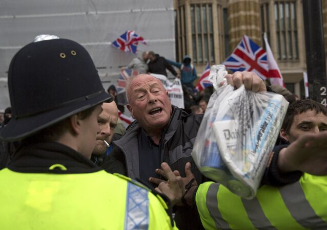 Members of PEGIDA (Patriotic Europeans Against the Islamisation of the West) shout during a rally on Whitehall in central London April 4, 2015.