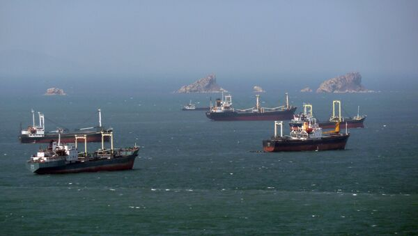 North Korean cargo ships wait their turn for entry to the West Sea Barrage dividing the Taedong River and the port of Nampo from the West Sea of Korea in April 2011 - Sputnik International