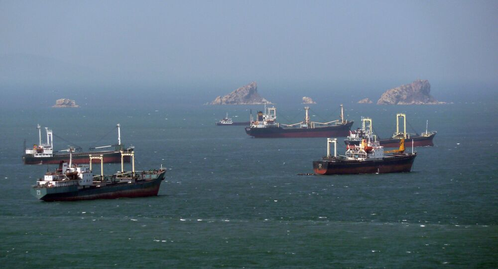 North Korean cargo ships wait their turn for entry to the West Sea Barrage dividing the Taedong River and the port of Nampo from the West Sea of Korea in April 2011