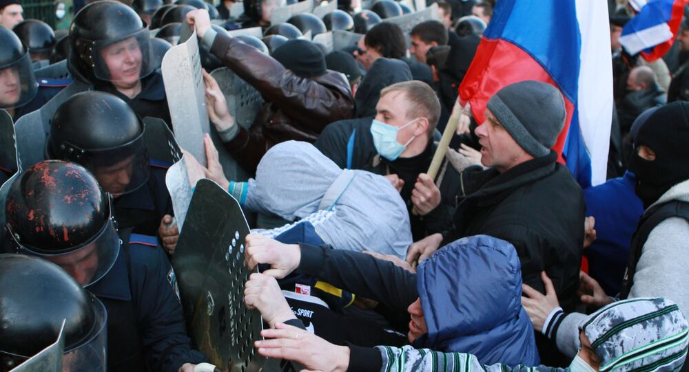 Supporters of referendum on Donetsk Region's status stage rally