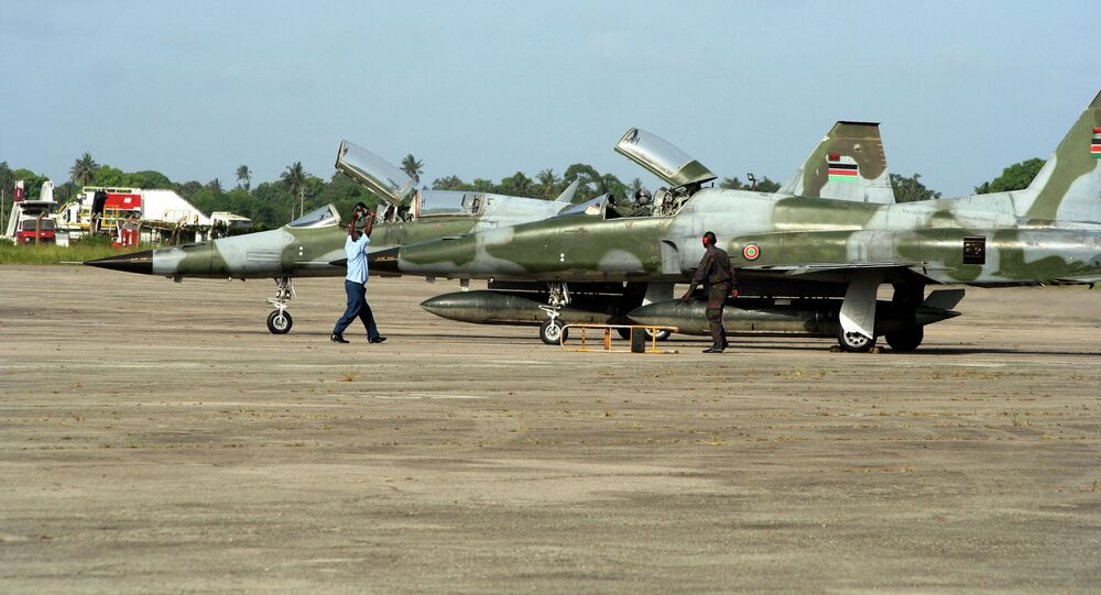 Kenyan Air Force F5 jet fighters stand at the Moi International Airport in Mombasa, Kenya