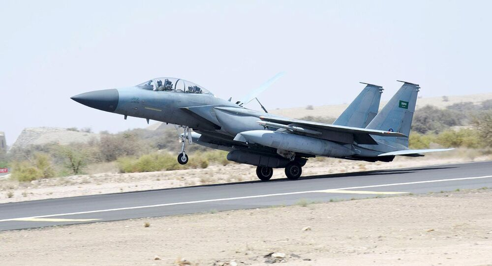 A jet takes off to participate in the Saudi-led air strikes on Yemen, at an airbase in an undisclosed location in Saudi Arabia in this April 2, 2015 picture provided by Saudi Press Agency. Picture taken April 2, 2015