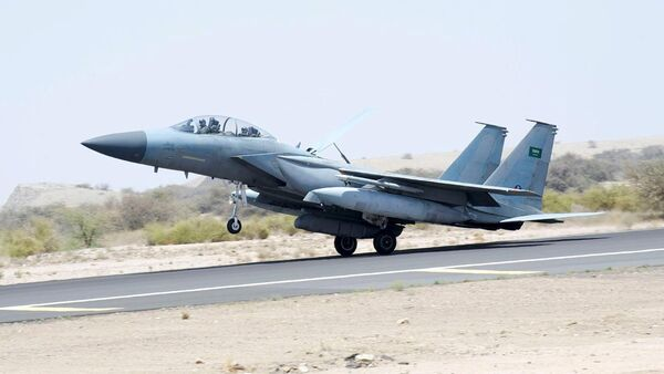 A jet takes off to participate in the Saudi-led air strikes on Yemen, at an airbase in an undisclosed location in Saudi Arabia in this April 2, 2015 picture provided by Saudi Press Agency. Picture taken April 2, 2015 - Sputnik International