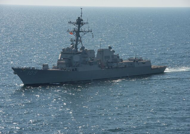 USS Jason Dunham  sails during a passing exercise with the Romanian navy in the Black Sea April 5, 2015
