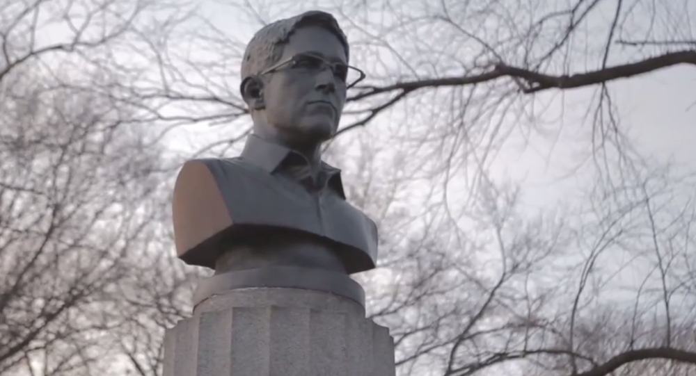 A group of anonymous artists illegally installed a 100-pound bust of whistleblower Edward Snowden.