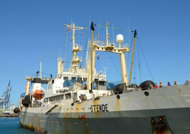 A file picture taken on March 20, 2013 and provided by ShipSpotting.com shows STENDE trawler in Las Palmas, Canary Islands. The trawler was bought in 2014 by Magellan LLC and renamed Dalny Vostok