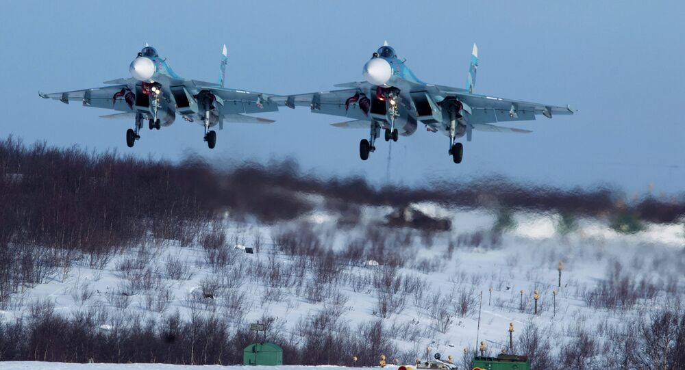 Training missions of detached 279th fighter wing of the Northern Fleet aviation